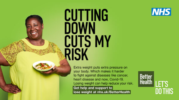 Cutting down cuts my risk - an ad featuring a woman of colour holding a bowl of healthy food
